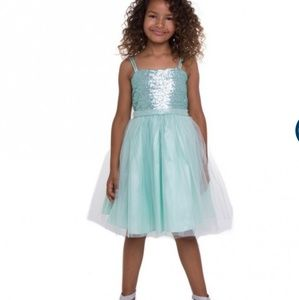 Girls mint sequin and tulle formal dress